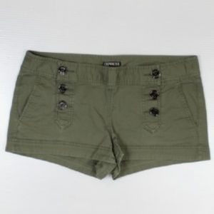 Express Shorts Olive Green Buttons Side Pockets